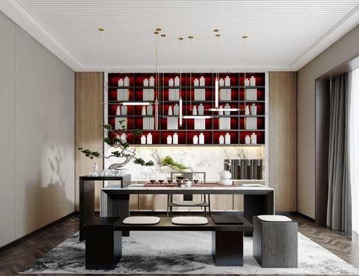 书房, 茶桌, 茶椅, 单人椅, 茶具, 吊灯, 盆栽, 绿植植物, 摆件, 装饰品, 陈设品, 新中式