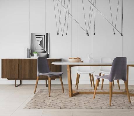 北欧简约, 餐桌椅组合, 桌椅组合, 吊灯, 边柜, 北欧