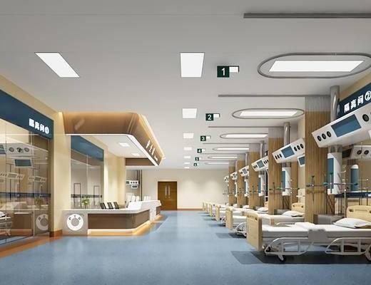 现代, 医院, 病床, 前台, 吸顶灯