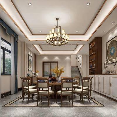 餐厅, 客厅, 装饰柜, 餐桌椅, 餐具, 摆件, 装饰品, 电视柜, 多人沙发, 单人沙发, 茶几, 台灯, 吊灯, 绿植, 新中式