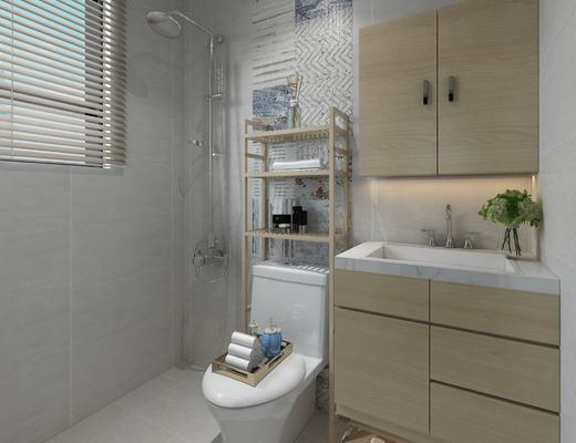卫生间, 现代, 淋浴间, 卫浴, 便器, 洗手台