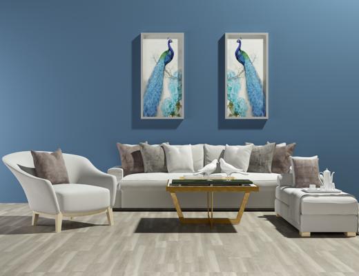 北欧沙发, 茶几, 装饰画, 单人椅, 布艺沙发, 沙发