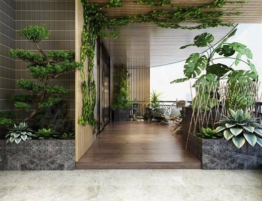 花园阳台, 阳台露台, 绿植, 单人椅, 现代简约