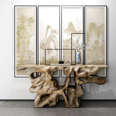 新中式端景台, 摆件组合, 根雕茶海