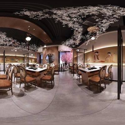 餐厅, 全景模型, 360, 餐桌椅, 椅子, 屏风, 中式餐厅, 中式