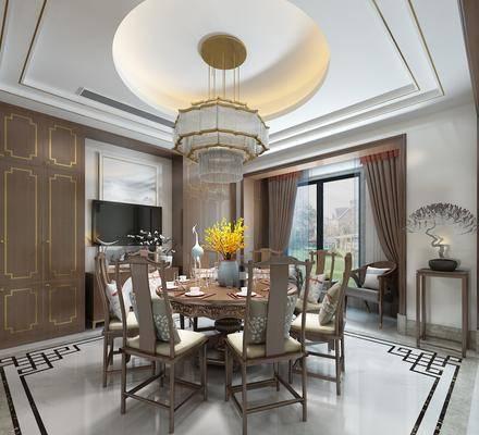 新中式, 餐厅, 餐桌椅, 吊灯, 边柜