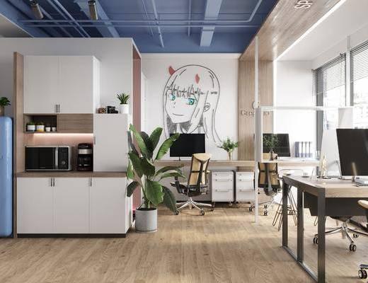 现代办公室, 办公办公区, 桌椅组合, 办公桌, 办公椅, 电脑