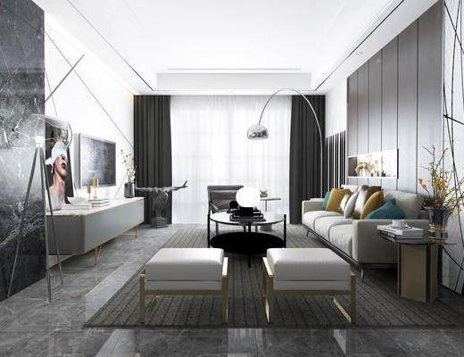 客厅, 多人沙发, 边几, 落地灯, 凳子, 电视柜, 边柜, 装饰柜, 装饰画, 挂画, 现代
