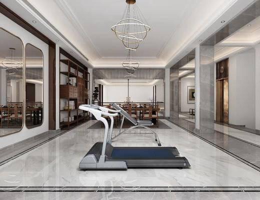 健身器械, 装饰柜, 桌椅组合, 吊灯, 装饰画
