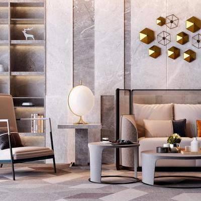 沙發組合, 多人沙發, 茶幾, 邊幾, 臺燈, 單人沙發, 墻飾, 裝飾柜, 擺件, 裝飾品, 陳設品, 現代
