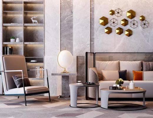 沙发组合, 多人沙发, 茶几, 边几, 台灯, 单人沙发, 墙饰, 装饰柜, 摆件, 装饰品, 陈设品, 现代