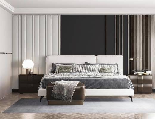 双人床, 床尾踏, 背景墙, 床头柜, 台灯