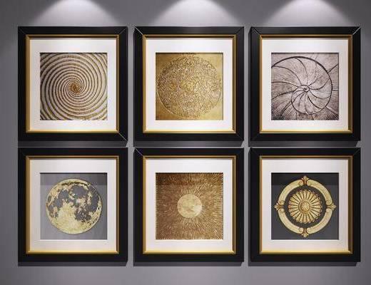 装饰挂画, 挂画组合, 艺术画, 抽象画, 三联画, 金箔挂画, 新中式