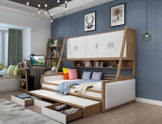 单人床, 装饰画, 吊灯, 书桌