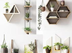 北欧简约, 装饰柜, 植物盆栽, 陈设品组合