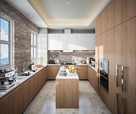 现代, 厨房, 橱柜, 厨具, 食品, 电器