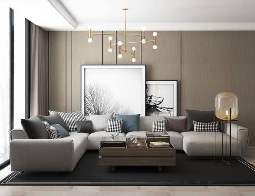 沙发组合, 沙发茶几组合, 吊灯, 茶具, 现代, 简约