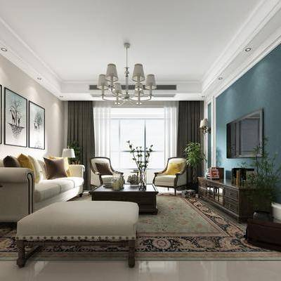美式客厅, 现代客厅, 美式沙发, 沙发组合, 沙发茶几组合