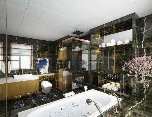 现代, 卫生间, 浴缸