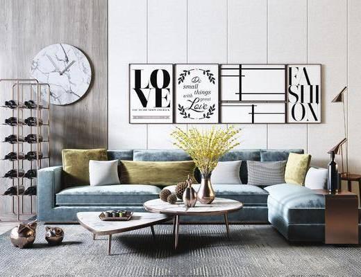 现代, 北欧, 沙发组合, 多人沙发, 茶几组合