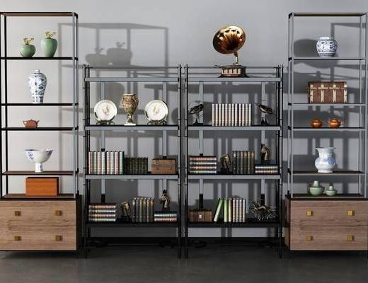 现代书柜组合, 现代书柜, 摆件, 书柜, 现代, 书籍