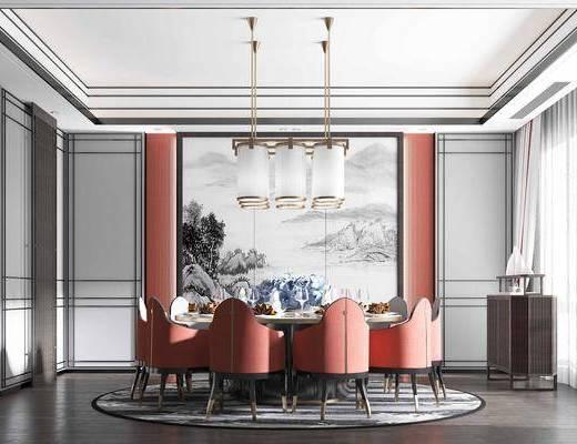 餐桌, 桌椅组合, 背景墙, 吊灯, 餐具组合