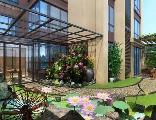 阳台花园, 阳光房, 鱼池, 阳台, 花园, 景观