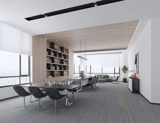现代, 办公室, 椅子, 桌子, 书柜, 沙发