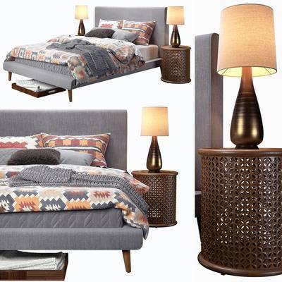 双人床, 床头柜, 床头灯, 床具组合, 床, 现代