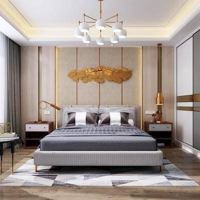 现代卧室, 现代, 卧室, 布艺床, 现代吊灯, 衣柜, 床头柜