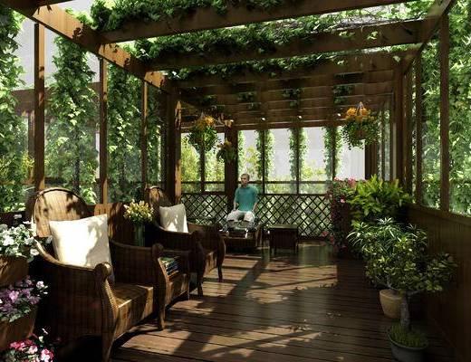 阳光房, 露台, 阳台, 阳光房空间, 楼顶, 休闲区, 现代阳光房, 玻璃阳光房