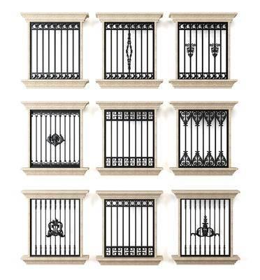 建筑窗户, 铁艺, 防盗网, 欧式