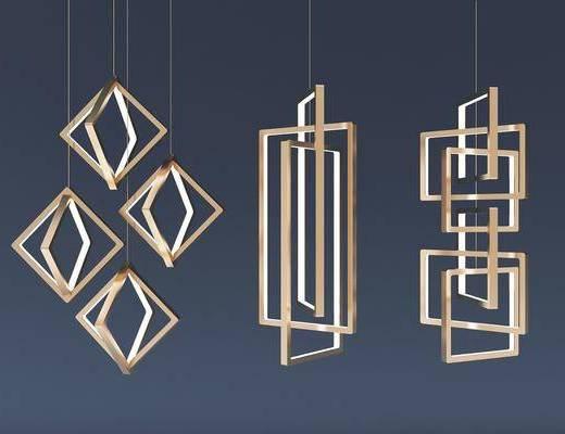 现代吊灯, 金属吊灯, 吊灯, 现代