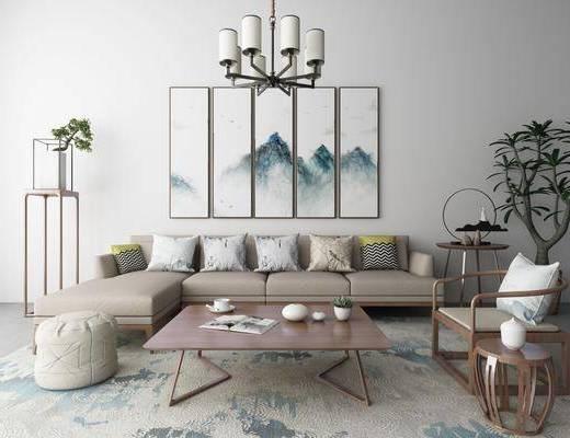 新中式沙发茶几装饰画吊灯地毯组合, 新中式, 沙发组合, 装饰画, 中式吊灯, 椅子, 植物