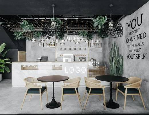 工业风餐厅, 餐桌椅, 吊灯, 吧台, 收银台, 植物
