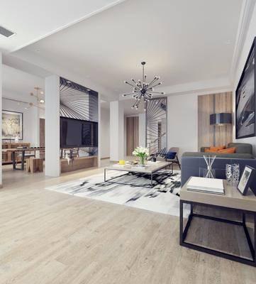 客厅, 多人沙发, 边几, 落地灯, 茶几, 吊灯, 装饰画, 挂画, 餐桌, 餐椅, 电视柜, 边柜, 单人椅, 现代