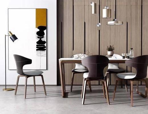 桌椅组合, 吊灯, 落地灯, 装饰画
