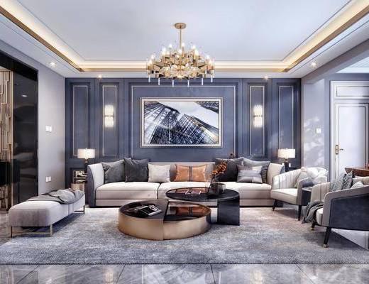 客厅, 餐厅, 沙发组合, 沙发茶几组合, 餐桌椅组合, 餐具组合, 边柜组合, 摆件组合, 壁灯吊灯组合, 洗手台组合, 现代轻奢