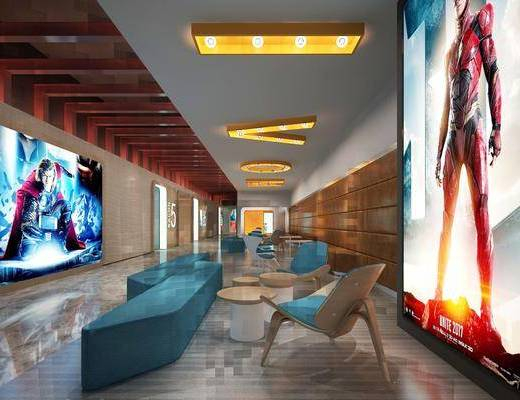 现代, 电影院, 走廊, 过道, 休闲椅