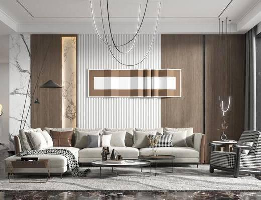 现代, 客厅, 沙发