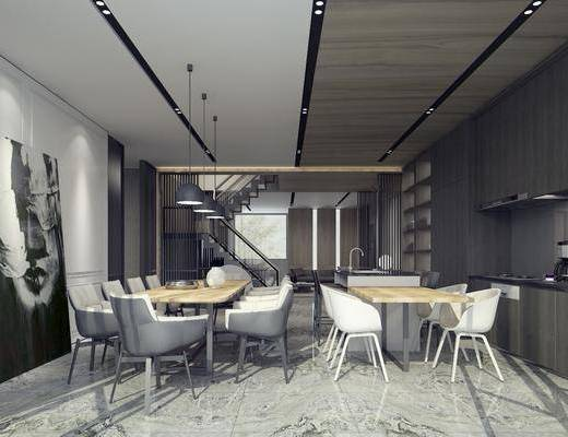 餐厅, 餐桌, 单椅, 现代餐厅, 简约, 简约餐厅, 桌椅组合, 橱柜, 置物柜, 摆件, 装饰画, 吊灯, 现代