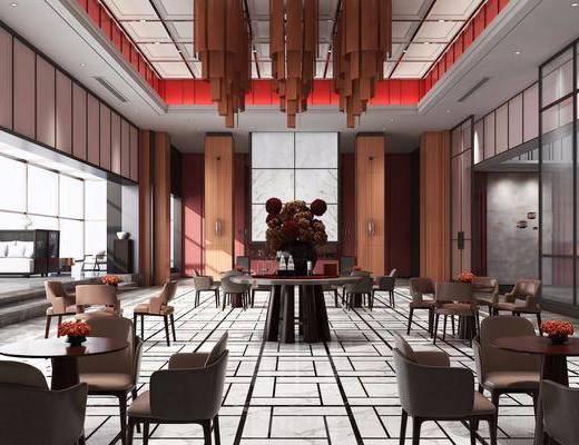 酒店会所, 洽谈区, 餐桌, 餐椅, 单人椅, 吊灯, 装饰品, 陈设品, 装饰柜, 边柜, 新中式