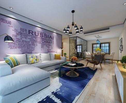 现代客厅, 现代吊灯, 沙发组合, 茶几