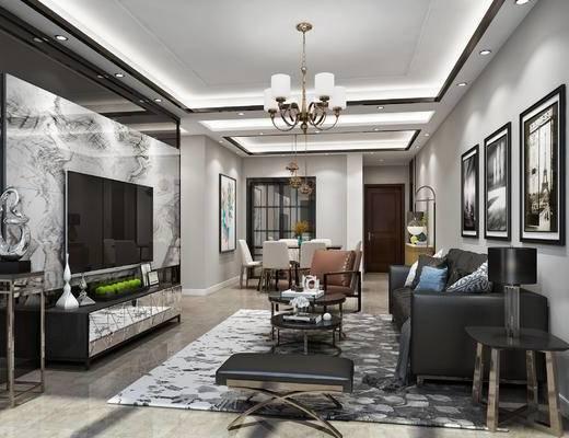 黑白灰客餐厅, 现代客餐厅, 沙发, 脚凳, 茶几, 电视柜, 餐桌椅, 挂画, 边柜, 吊灯, 落地灯
