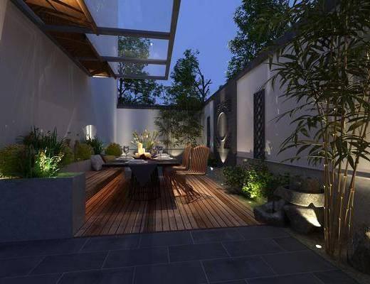 阳台, 桌椅组合, 树木, 植物