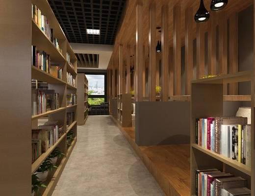 现代图书馆, 书桌椅, 书柜, 吊灯