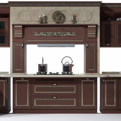 橱柜, 厨具, 烟灶消, 抽油烟机, 洗手台, 置物柜, 美式