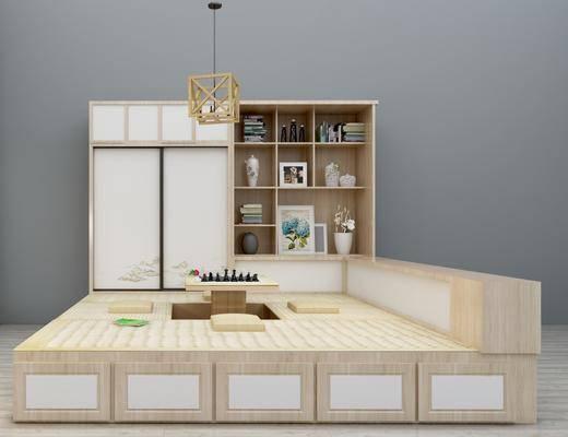 榻榻米, 茶室, 茶桌, 装饰柜, 吊灯, 装饰品, 陈设品, 榻榻米床, 新中式