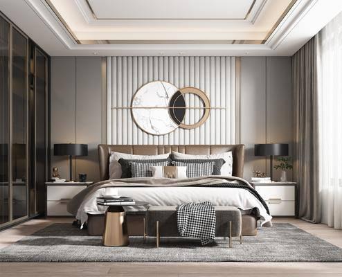 双人床, 墙饰, 床尾踏, 床头柜, 衣柜, 台灯