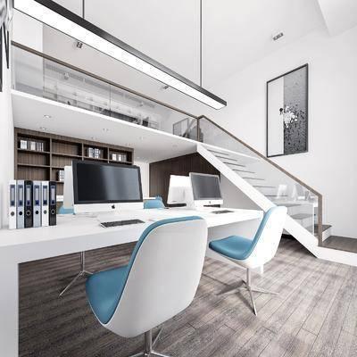 现代, 办公室, 工装, 3D模型, 双层架构